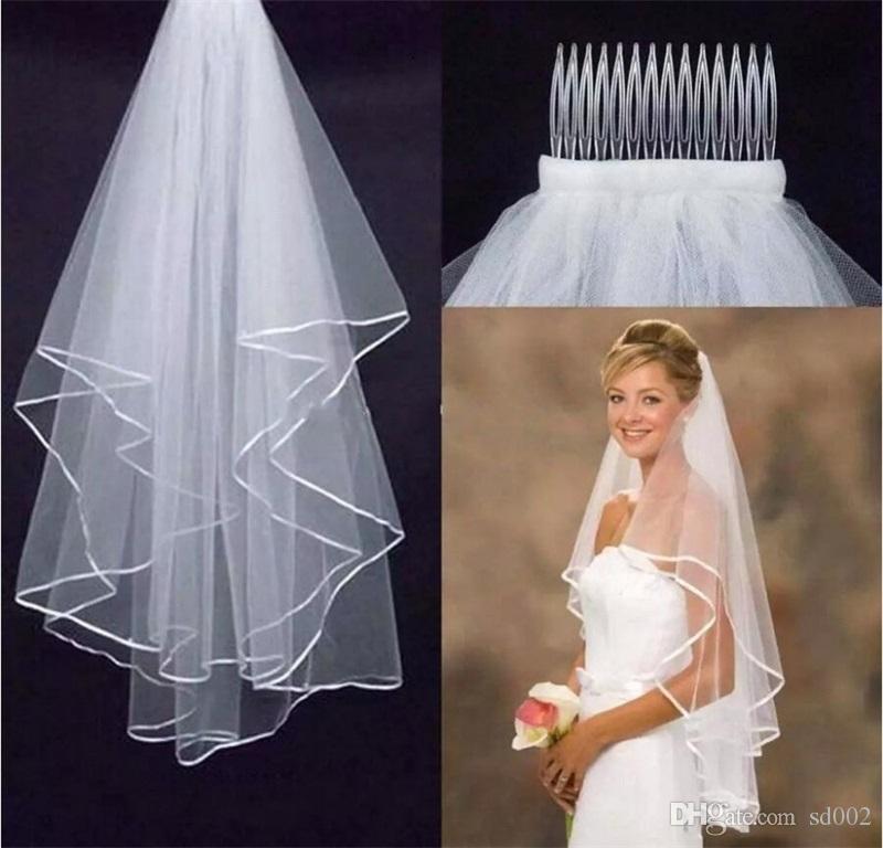 Voiles de mariée romantiques 2 couches de type chauve-souris voile de mariée avec peigne Ivoire Blanc tête de fil de satin pour la mariée parti décor 5 5hp AA