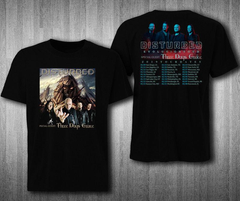 7eb6215d0862 Disturbed EVOLUTION Tour 2019 with Three Days Grace 2 Side T-shirt ...