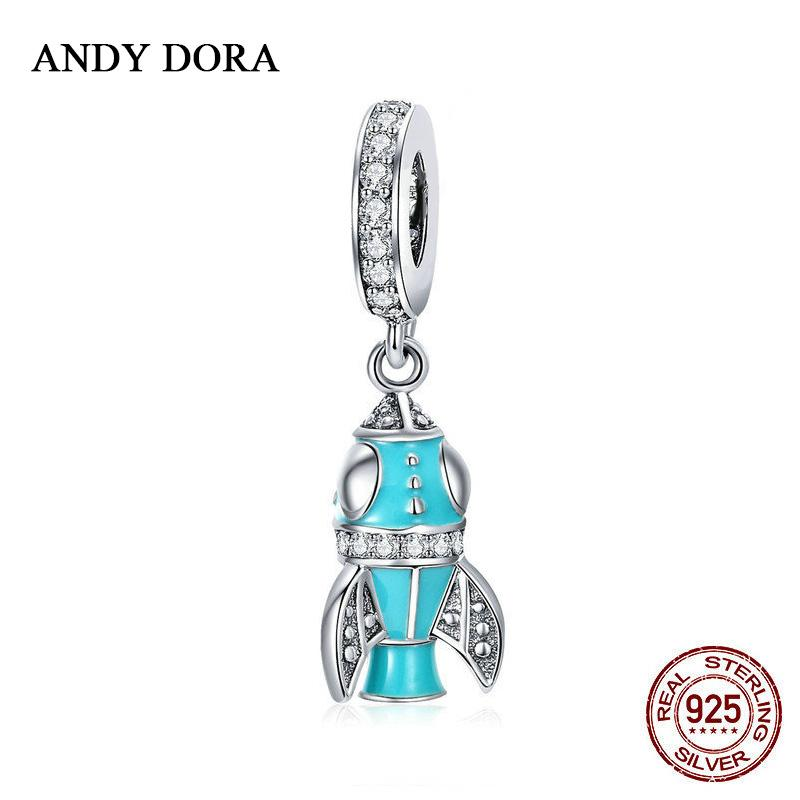2018 New Blue Space Shuttle Necklace Pendant Charms Silver 925 Original Diy  Bracelets for Woman Wedding Beads for Jewelry Making