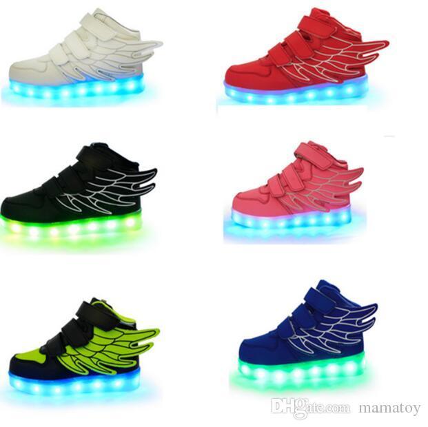 best shoes super cheap 100% quality Kinder Sport Leucht Schuhe LED-Licht USB Lade Sechs Farbe Flash Jungen  Mädchen Schuhe Mode Gold Silber Große Größe