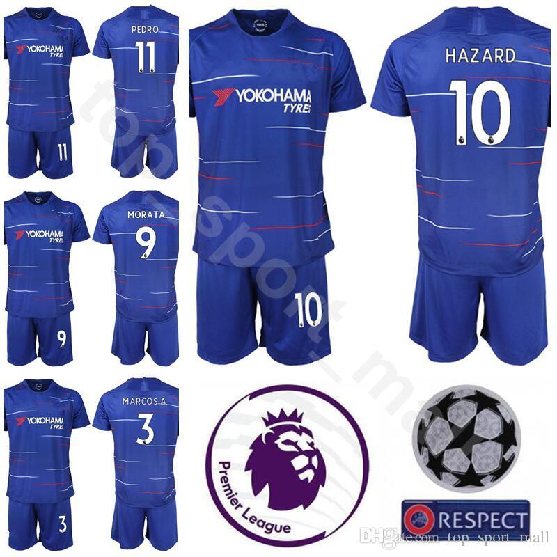 new concept 195ef a4f65 18 19 Season Premier League 3 Marcos Alonso Jersey Set Men Soccer 9 Alvaro  Morata Eden Hazard Football Shirt Kits Blue With Short