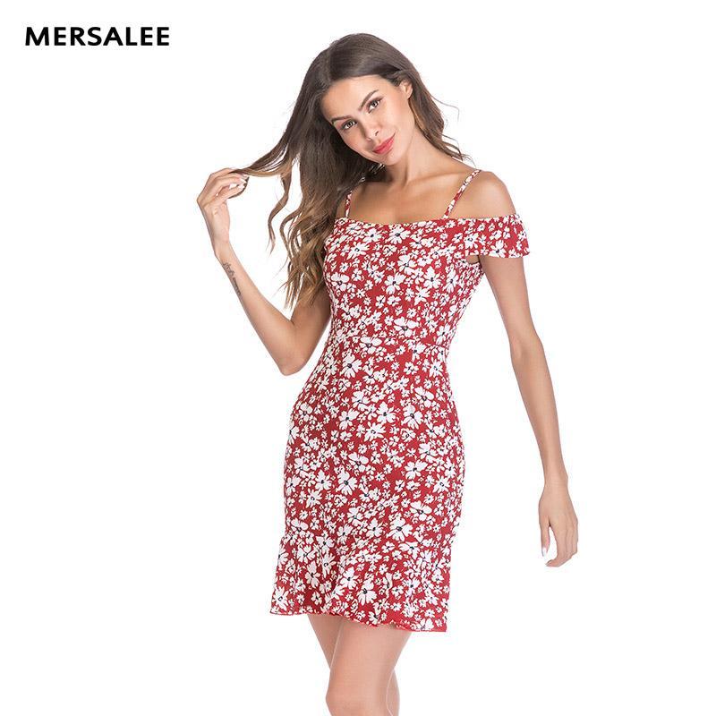 86dfc4d33 Compre MERSALEE Vestidos 2018 Moda De Verano Pequeño Vestido De Gasa Floral  Fresca Imprimir Sexy Vestido De Novia Elegante Strapless Con Volantes  Vestidos ...