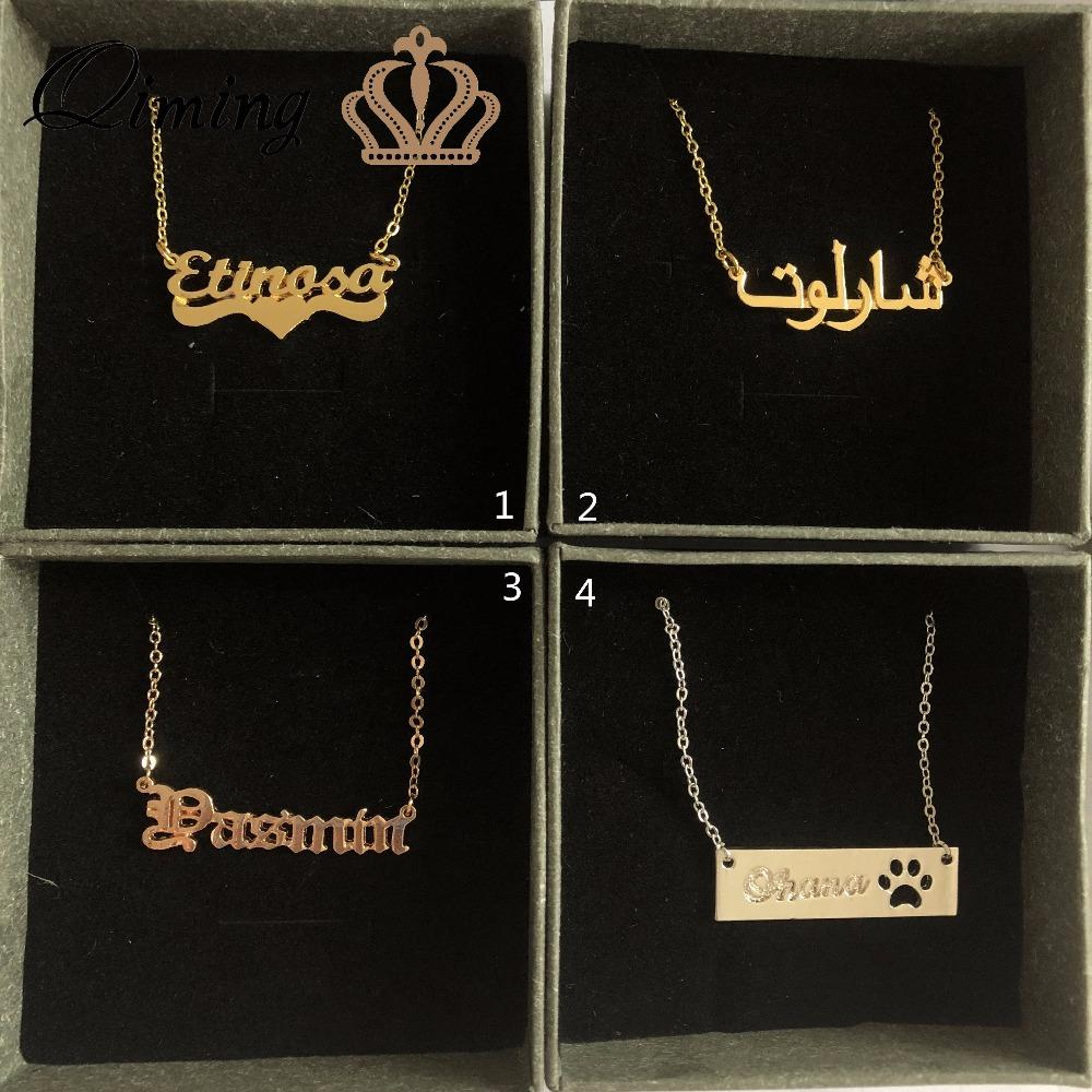 457ecfd92 2019 QIMING Initial Custom Name Letter Necklace Women Gold Arabic Font Baby  Kids Children Jewelry Nameplate Necklace For Girls Gift From Fashluck, ...