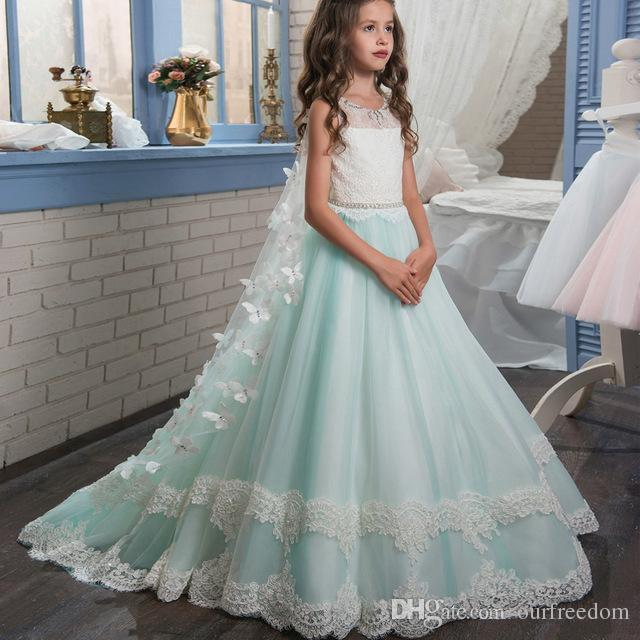 64be5a9d128e7 2018 New Mint Green Flower Girls Dresses With Wrap White Lace Appliques A  Line Sweep Train Backless First Communion Dresses Custom Made Adorable  Flower Girl ...