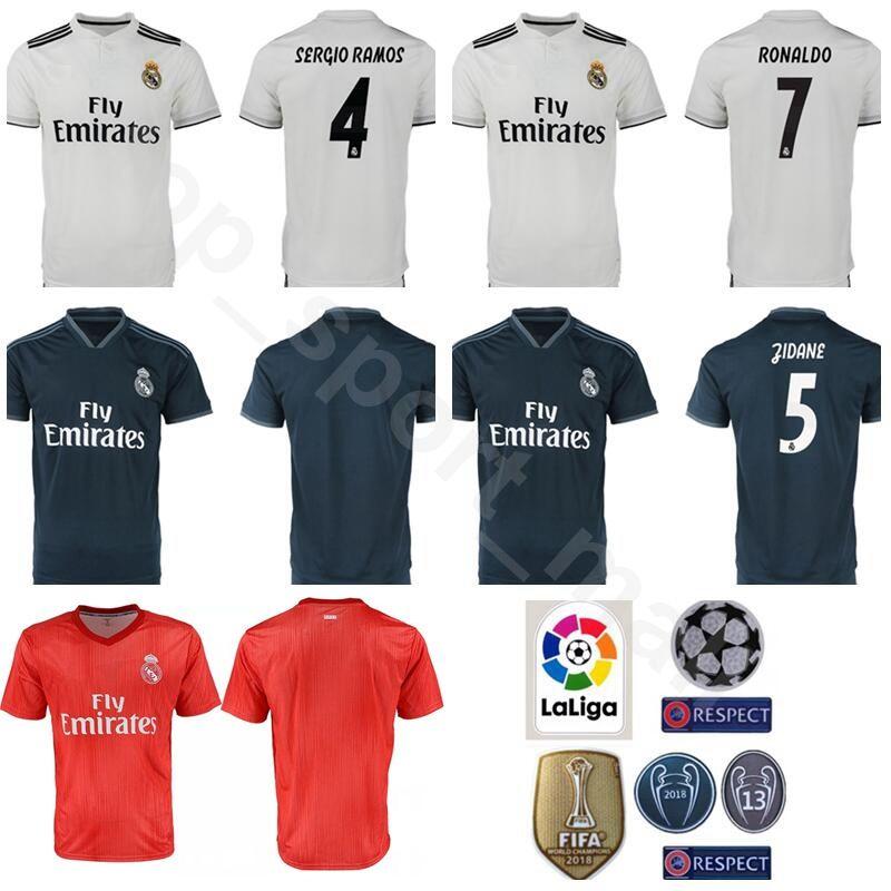 new photos fe51b e87ff Real Madrid La Liga 7 RONALDO Jersey 2018 2019 Men Respect Soccer Stefano  Puskas Zidane Raul Hugo Sanchez Football Shirt Kits Uniform