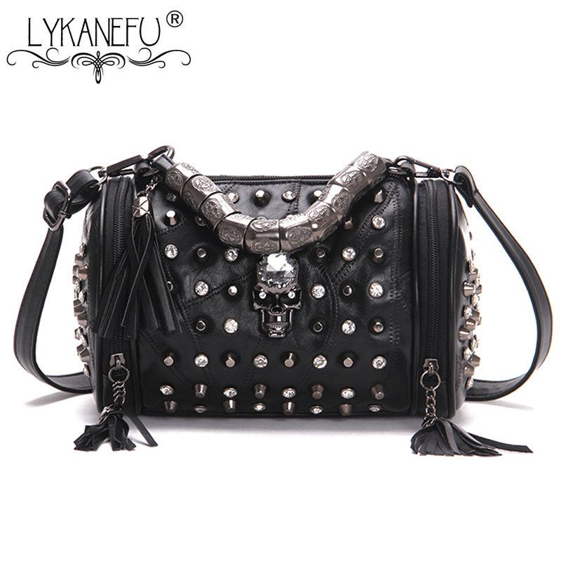 1cabce714d351a LYKANEFU Punk Rock Women Messenger Bags Barrel Shaped Small Tote Purse With Skull  Rivet Black Handbag Women Bag Crossbody Bags Purses From Murie, ...