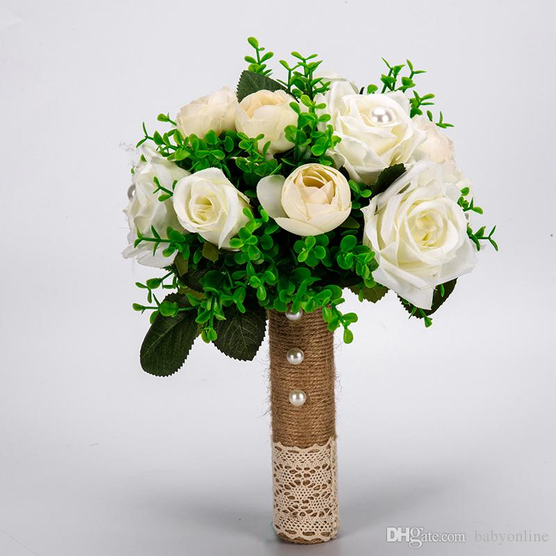 Modern Colorful White Wedding Bouquet Handmade Artificial Flower