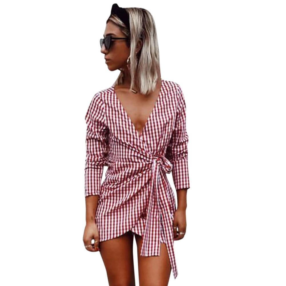 f088a6876a Summer Off Shoulder V Neck Red White Plaid Wrap Dress For Women Casual  Short Lace Up Dresses Elegant Ladies Half Sleeve Dress Women Dressing  Styles Black ...