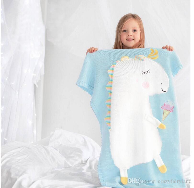 Compre Niños Pequeños Niñas De Punto Manta Unicornio Sleeping ...