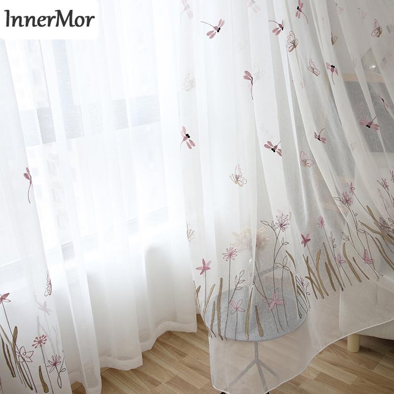 Innermor Buerfly Dragonfly girl\'s Curtain Per camera da letto Tende  ricamate per soggiorno cucina puro su misura