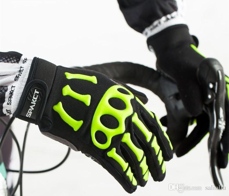 SPAKCT Luvas de Ciclismo Completa Dedo Crânio Gel Pads Luvas de Bicicleta Da Bicicleta Da Motocicleta Esportes Downhill Corrida Luvas Longas Unisex S M L XL XXL
