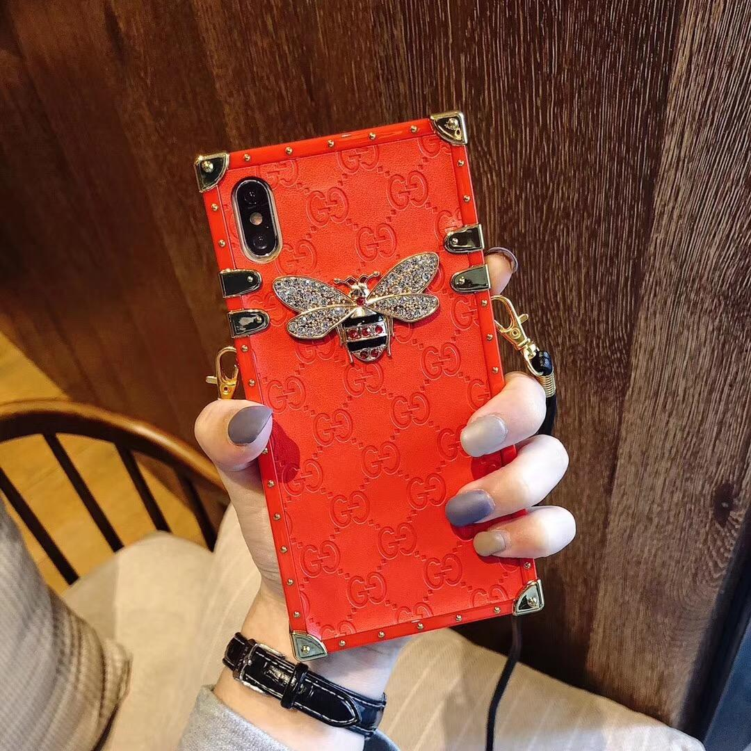 Brand creativity luxury bee big red For iphone X XR XS MAX 8 6S 7 6plus mobile phone case lanyard female models