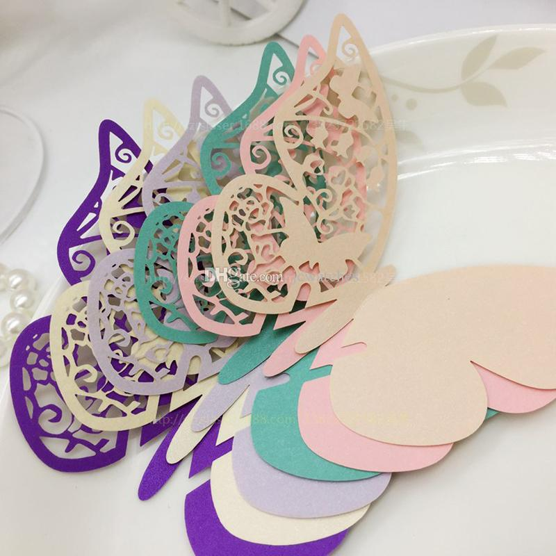 Butterfly Shaped Laser Cut Paper Place Card Cup Card Wine Glass Card For Wedding Decoration Party Favor
