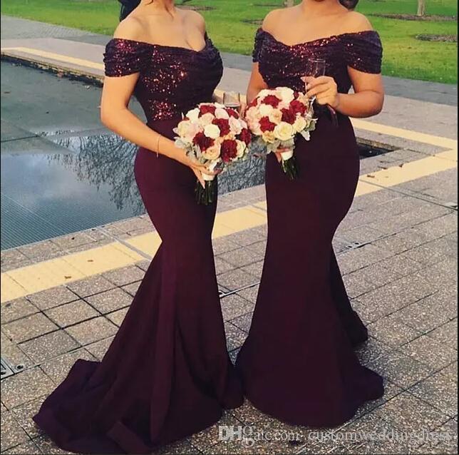 Elegant Off The Shoulder Satin Floor Length prom Dresses Sparkling Sequins Top Ruffle Mermaid Formal party Evening Dress 2018