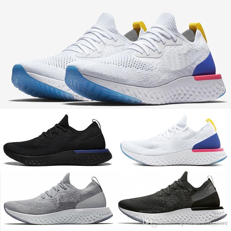 promo code 94799 e3281 Compre Nike Epic React Flyknit 2018 Bélgica Epic React Instant Go Go Hombres  Mujeres Zapatillas Blue Glow Negro Blanco Causal De Malla Transpirable  Deporte ...