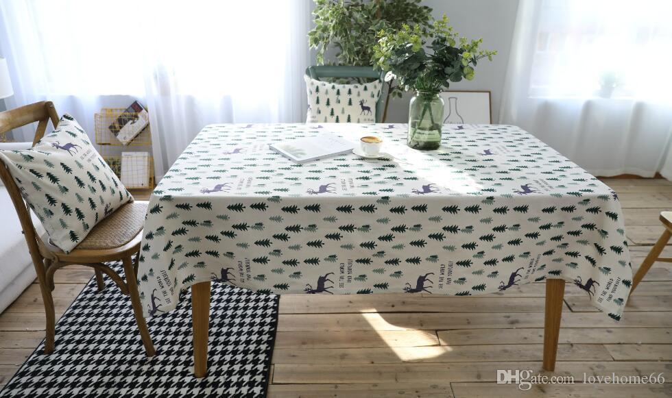 Rectangular Cotton Linen Tablecloth deer tree Vintage Rectangle Dinner Picnic Table Cloth Home Decoration
