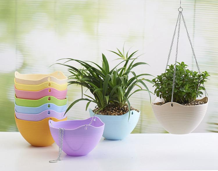 2018 Hanging Garden Pots Flower Pot Pp Plastic Hanging Garden Pots  Bracketplant Flowerpot With Metal Chain Hoist Candy Colors With Water  Storage From ...