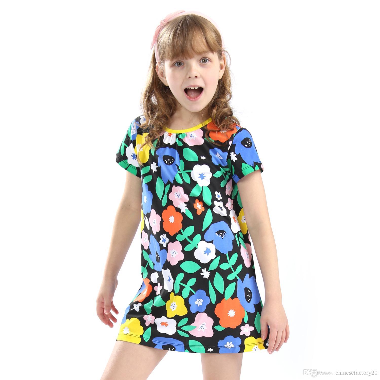 94d63145efb Girls Dresses Cotton Short Sleeves Flower Print 100% Cotton Sundresses Kids  Baby Clothes Summer Dresses Clothing 2-7T