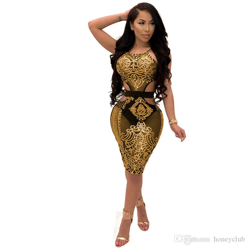 ed93dc8649a rose red blue yellow red club evening bodycon dress 2018 sexy cut out silk  midi sparkly glam Metallic sequin dress Body Con Dress