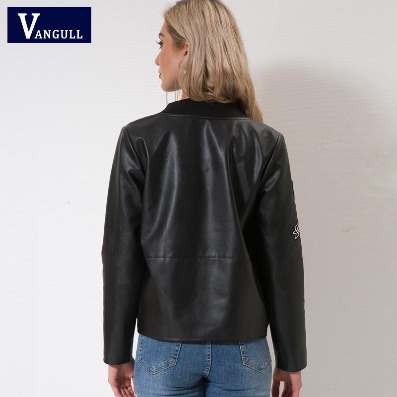 Vangull jaqueta De Couro Novas mulheres Outono Inverno Faux Jaquetas De Couro lady design de Marca Estilo da motocicleta preto Trench Coat Feminino