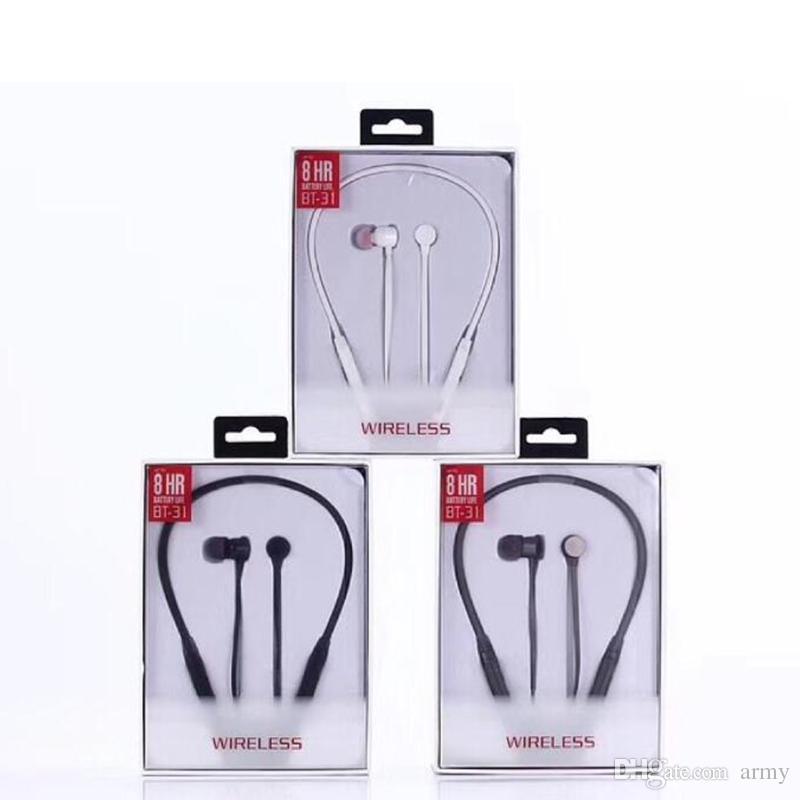 Venda quente fones de ouvido bluetooth sem fio fones de ouvido BT-31 para esporte fones de ouvido com pacote de varejo dhl livre shiping