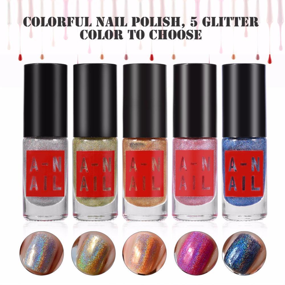 Wholesale 5 Bottles 6ml Holographic Glitter Gel Nail Polish Mirror ...