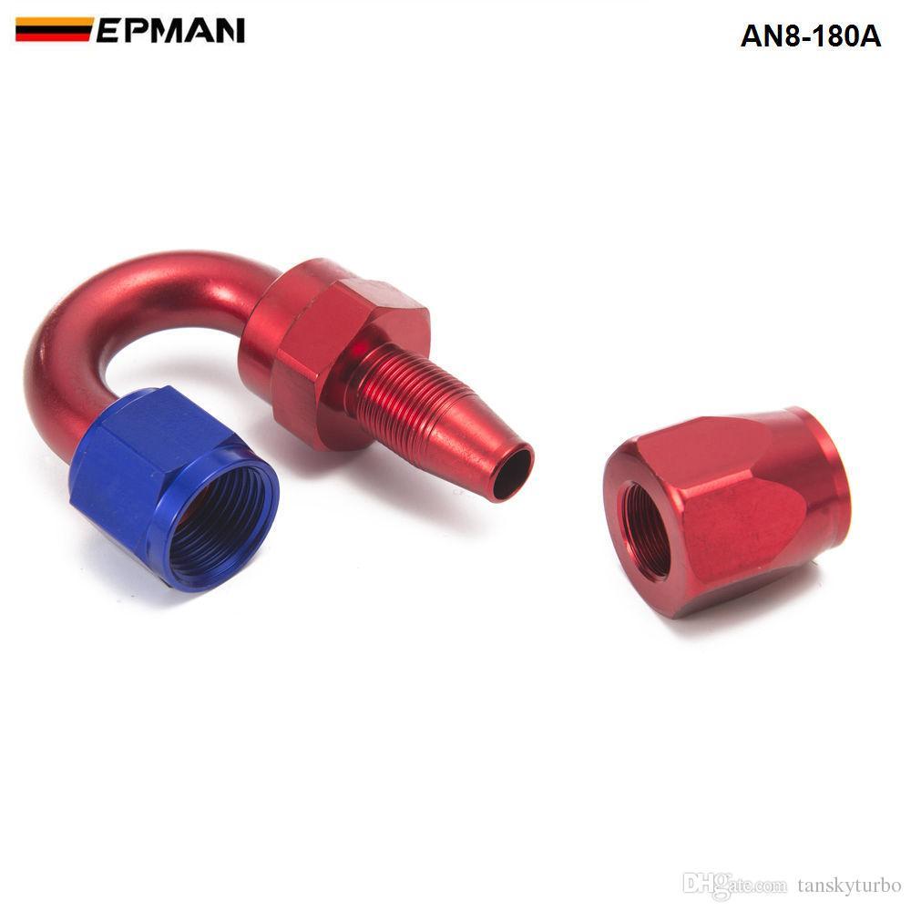EPMAN -Universal AN8 8-AN 180 Degree Aluminum Oil/Fuel Line Hose End Fitting AN8-180A