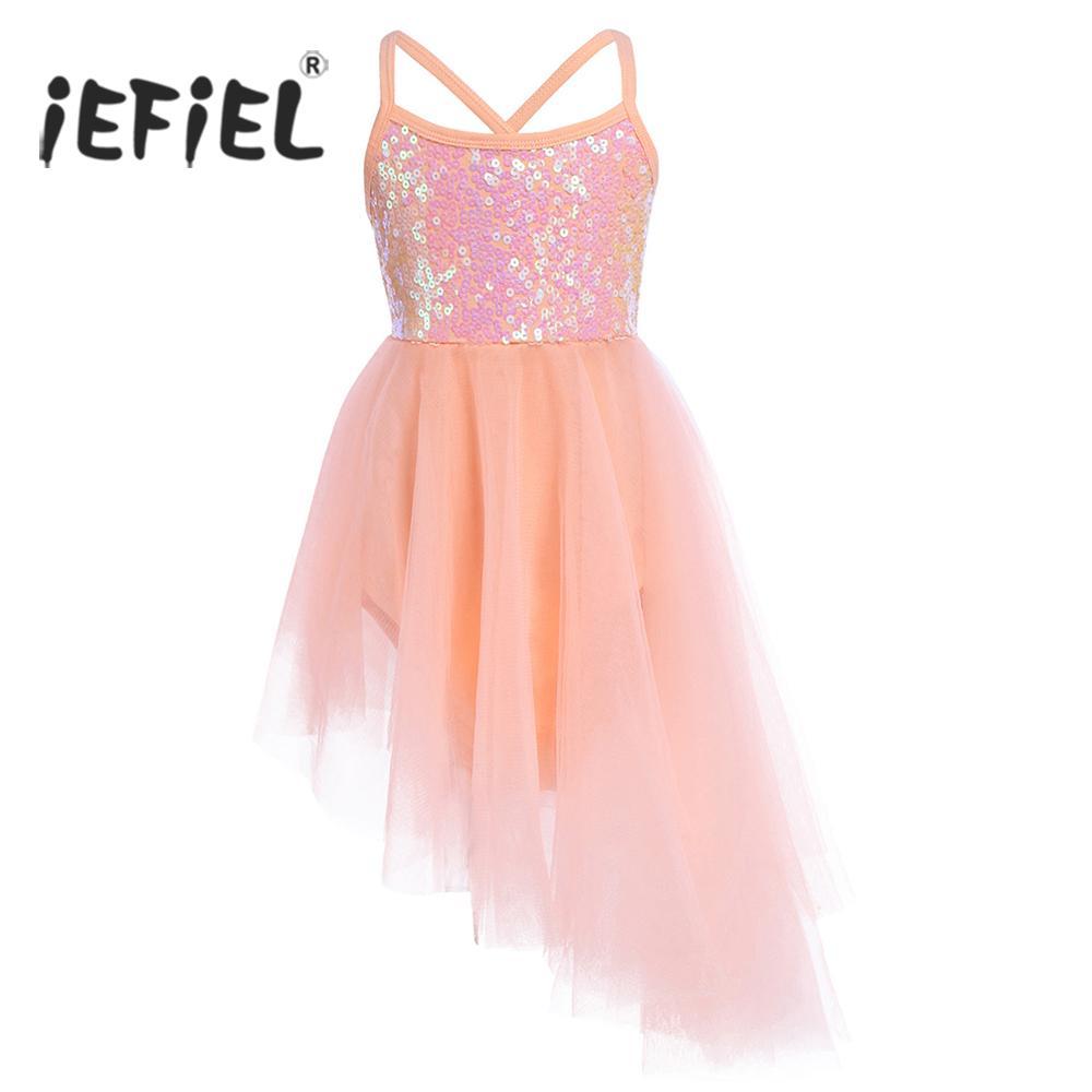 dc194b6a3dd4 2018 IEFiEL Kids Children Sleeveless Sequins Tulle Fancy Ballet ...