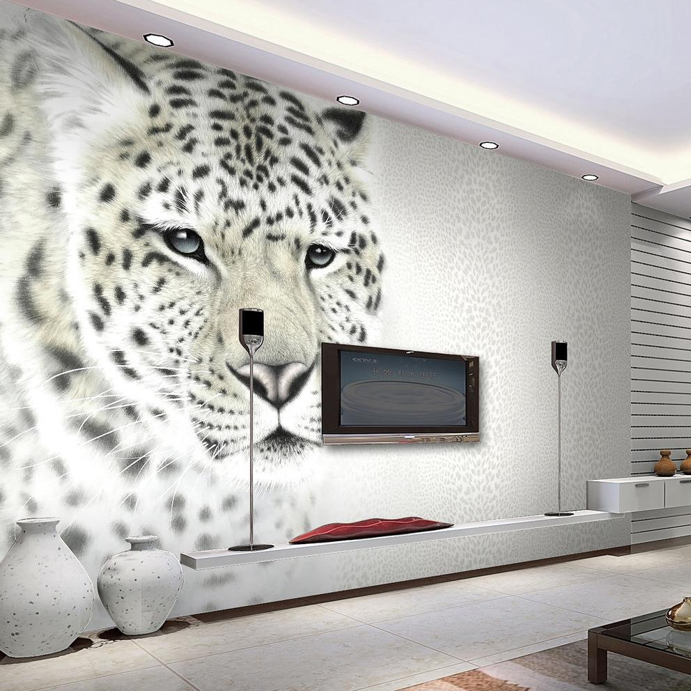 Animal White Leopard Photo Mural Customized Size Non Woven 3d Wall ...