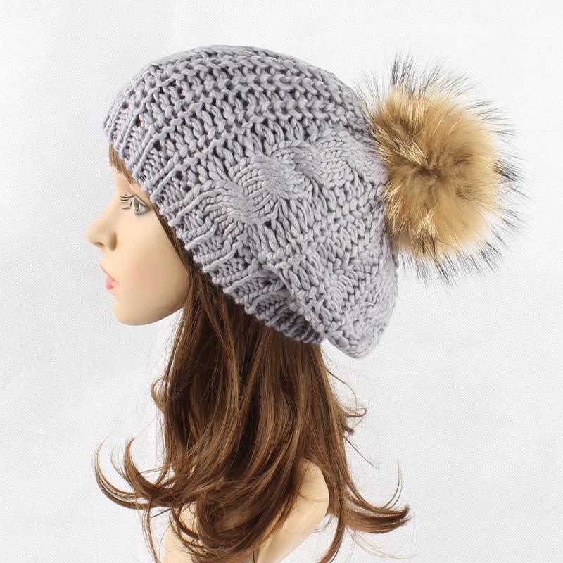cb3bef3bf New Winter Women Hat Berets Knit Pompom Beret Ladies Flat Cap Bone Gorras  Planas Boina Real Raccoon Fur Ball Hats For Women