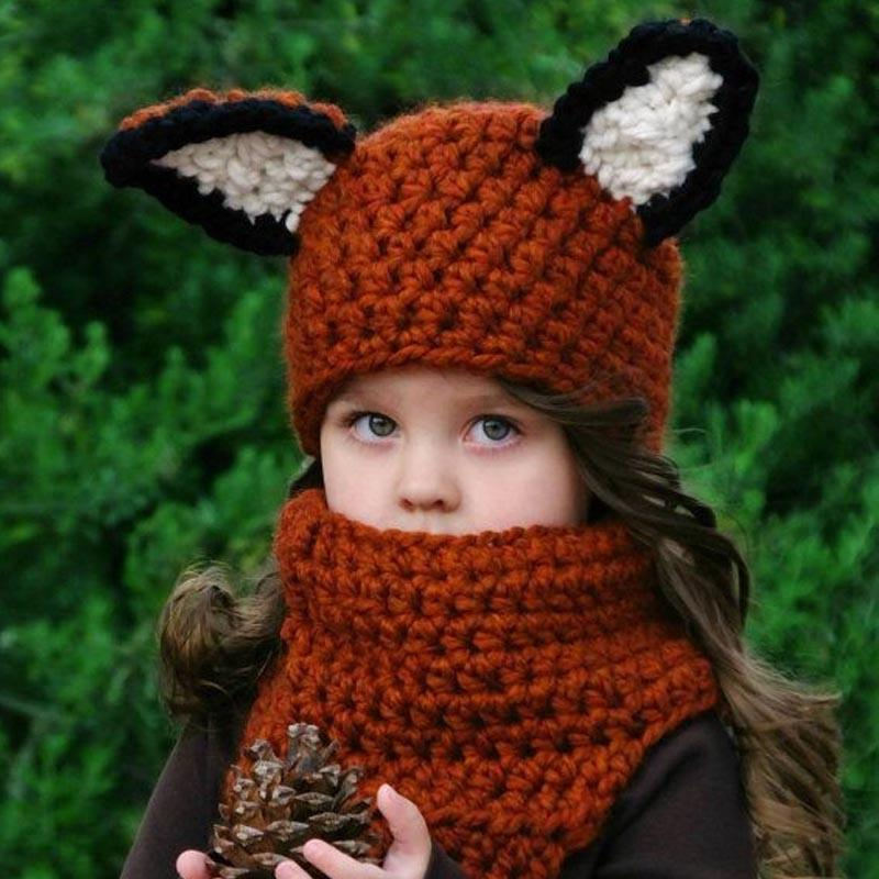 2019 Winter Kids Crochet Hat Scarf Set Handmade Child Squirrel