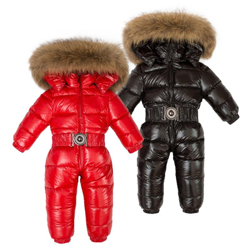 51f25f456 Winter Children 90% White Duck Down Rompers Boys Big Natural Fur ...