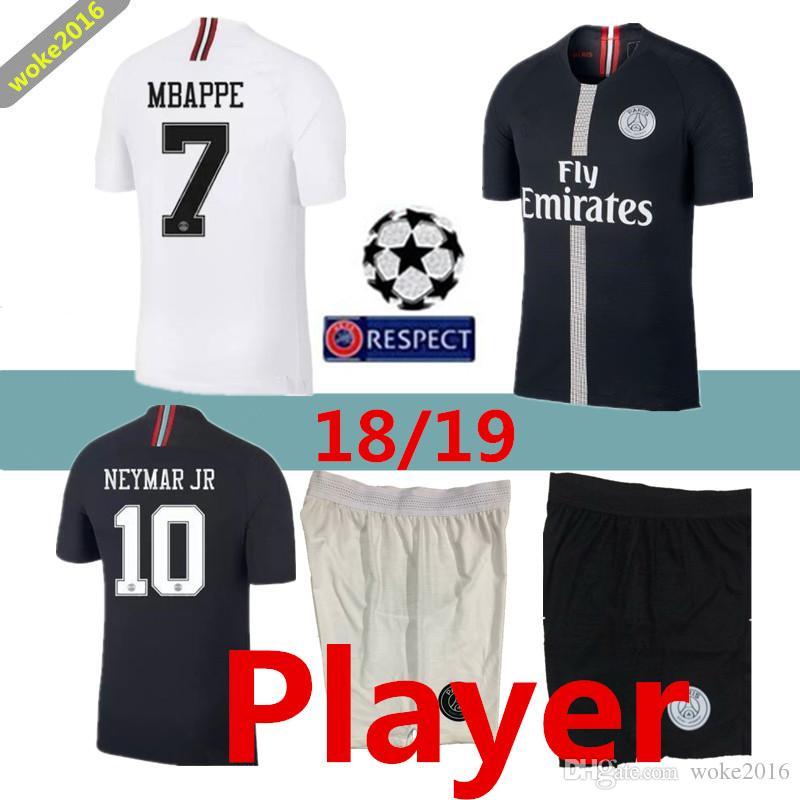 ad286e129 Player Version PSG Mbappe 2019 Black Champions League Maillot De ...