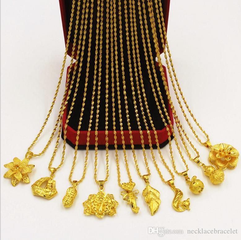 af587ab400cf Venta 24k latón placa de oro collar de las mujeres Sólido luz perla collar  de cuentas redondas Vietnam arena de oro de latón puro joyería de oro  cadena de ...