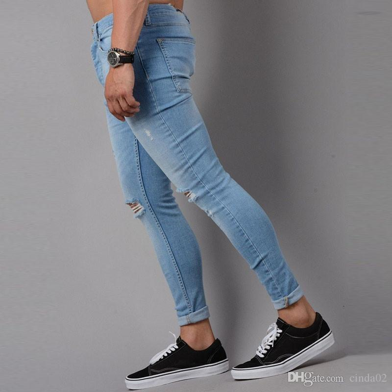 Designer Hole Men Biker Jeans Classic Jeans Wash Cowboy Slim Denim Trousers Skinny Pants Casual Mens Ripped Jean Motorcycle Jeans