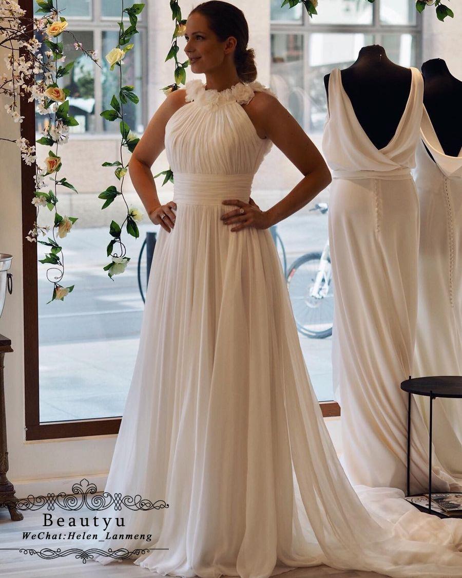 a79472f5f6d Discount Elegant Chiffon Bohemian Beach Wedding Dresses 2018 Cheap Plus  Size A Line Vestido De Novia Italy Greek Style Long Country Boho Bridal  Gowns Plus ...