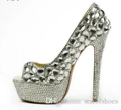 2018 donne peep toe pompe sexy pompe di strass piattaforma tacco sottile scarpe da sposa signora diamante tacchi alti scarpe da sera