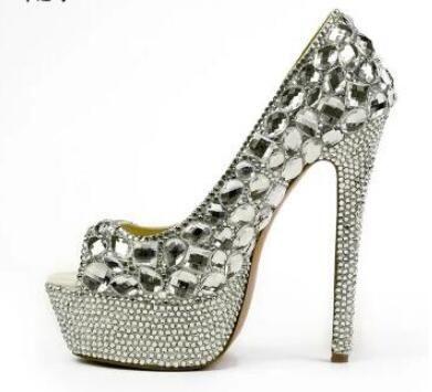 2018 Frauen Peep Toe Pumpen sexy Strass Pumpen Plattform dünne Ferse Hochzeit Schuhe Dame Diamant High Heels Kleid Schuhe