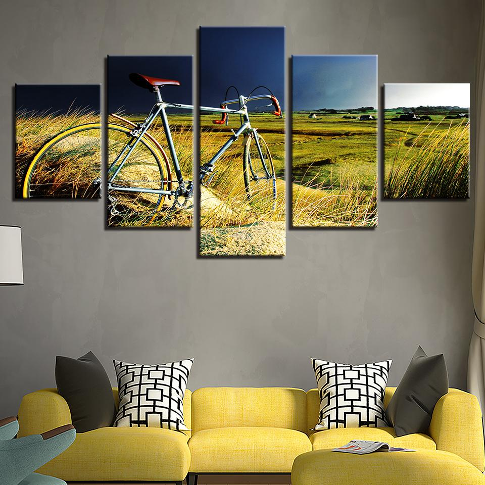 2018 Canvas Paintings Home Wall Art Decor Vintage Bicycle In The ...