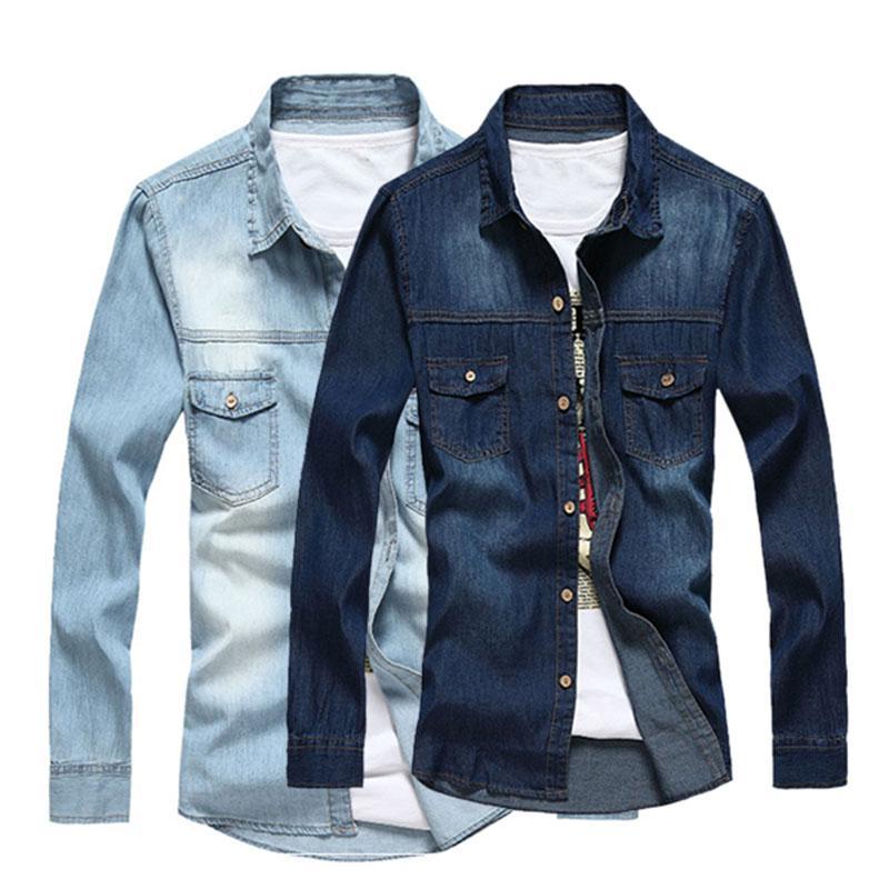 9840af8669 2016 Nuova moda uomo Slim Fit manica lunga camicia di jeans Mens grandi e  alte Camicie Casual Camisa per gli uomini