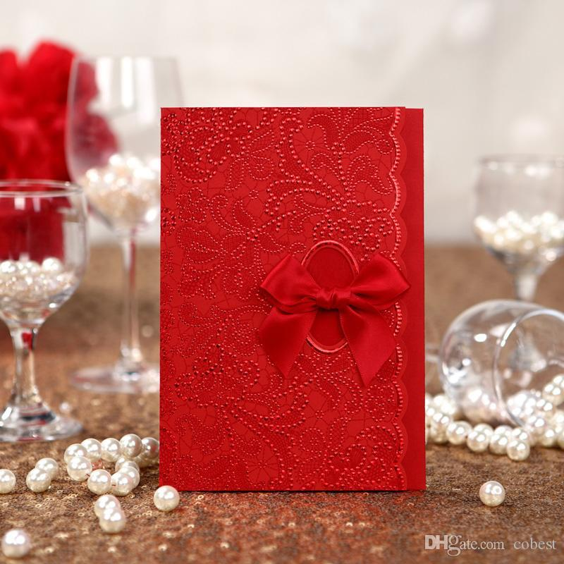 Chinese Wedding Invitations Cards Red Vintage Style