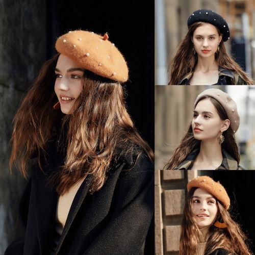 c7b58f17f4383 2019 Fashion Lady Women Wool Felt Warm French Classic Beret Beanie Slouch  Cap Tam From W245