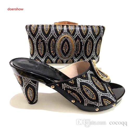 Latest African Ladies Shoes And Bag Set For Wedding Nice High Heels Pumps And Clutch Purse Set For Party A1-21