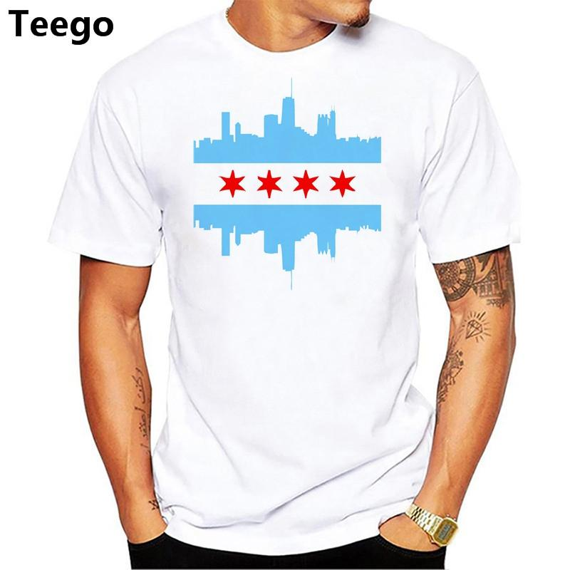 Grosshandel Familie T Shirts Kurze Manner Chicago Flag Manner Sommer