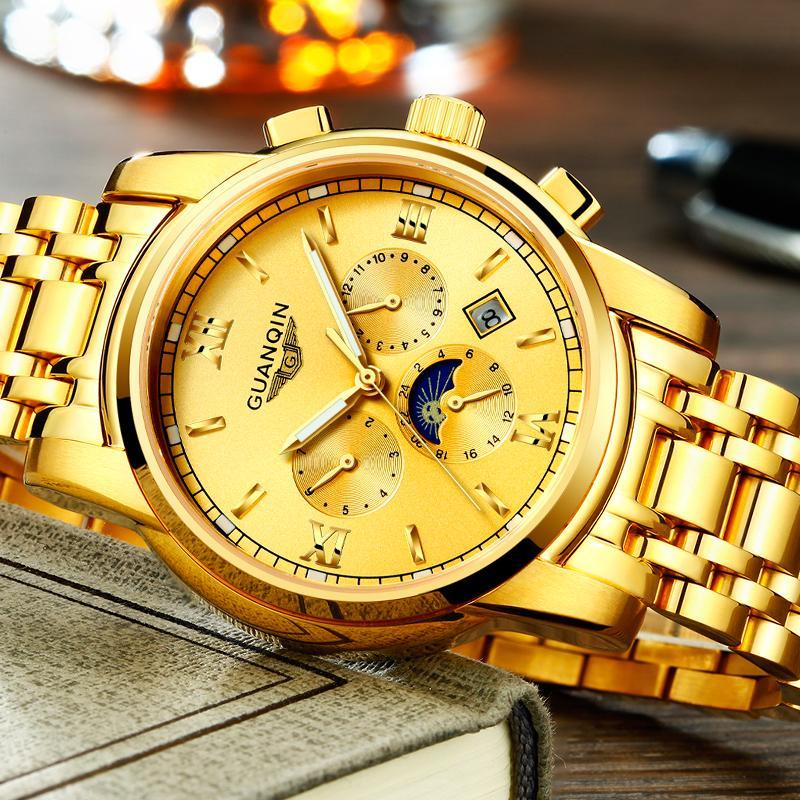 b4881843bdc Compre Relogio Masculino GUANQIN Marca Homens De Negócios De Luxo Relógios  Automáticos Moda Masculina De Aço Inoxidável Relógio Mecânico À Prova D   Água De ...