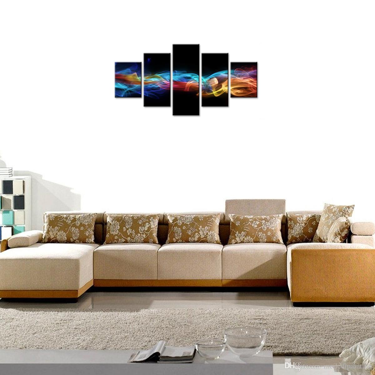 Amosi Art 5 Panels Abstract Canvas Print Wall Art Colorful Cloud and Smoke Ribbon Painting Decor Wall Picture for Home Living Room Framed