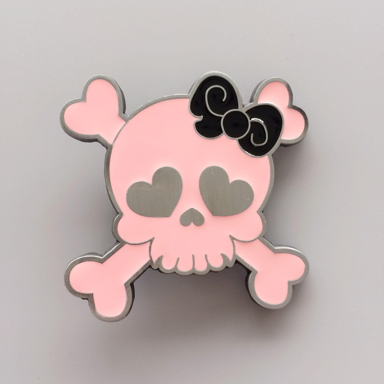 New Vintage Pink Enamel Punk Rock Emo Tattoo Skull Girl Wedding Day ... 5be593fb0b5