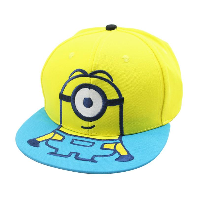 New Cute Cartoon Embroidery Minions Boys Girls Sun Caps Children Snapback Caps  Baseball Caps Cotton Cool Caps Flat Brim Hats From Cfyh2018 2e6c3dce2c57