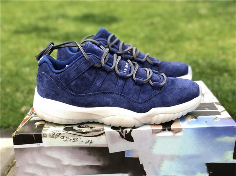 84ce96ecbf6e94 2019 HOT SALE 11 LOW RE2PECT DEREK JETER BLUE SUEDE 11S MEN BASKETBALL SHOES