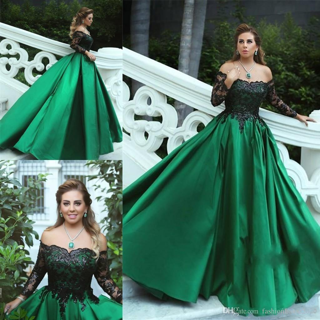 f2ef525330ec 2018 Sexy Green Black Ball Gown Evening Dresses Off Shoulder Long Sleeves  Beaded Lace Satin Plus Size Prom Gowns Wear Formal Party Dresses Silver  Evening ...